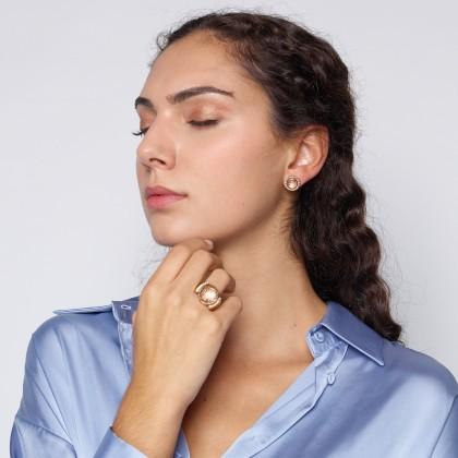 DECO FILIGREE   Rock Crystal and Diamond Earrings