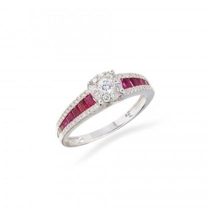 Anel Diamantes e Rubis