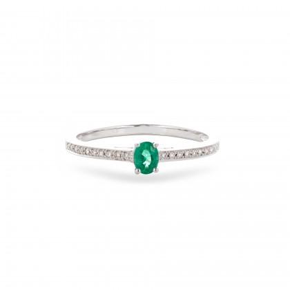 Anel com Diamantes e Esmeralda