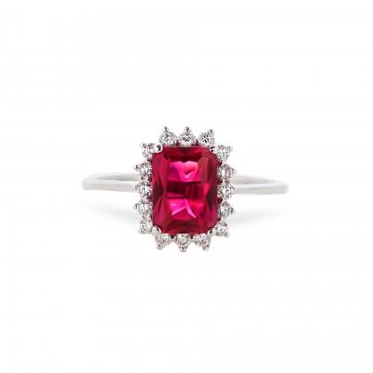 Anel com Diamantes e Rubi